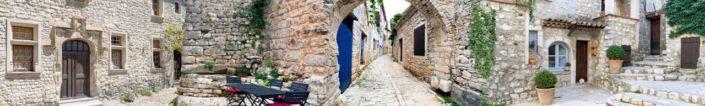 скинали для кухни фрески улочки с камеными стенами