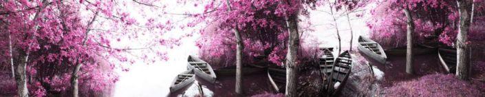 фартук для кухни розовый сад и лодки в реке