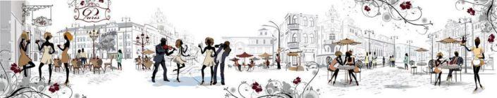 скинали для кухни Парижские уличные кафе в серых и цветных тонах