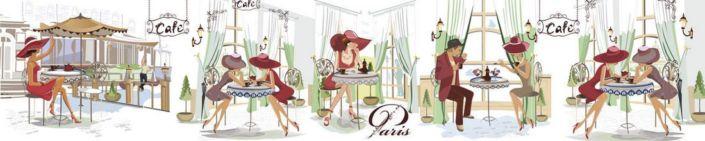 фартук для кухни кафе с посетителями дамы в шляпах