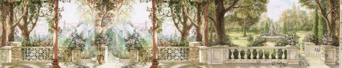 скинали для кухни фрески парк фонтан
