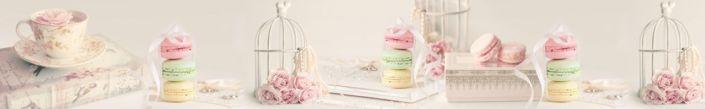 фартук для кухни цветы и пирожное акарони в постельных тонах