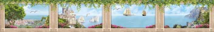 фартук для кухни фрески вид на море парусники замок