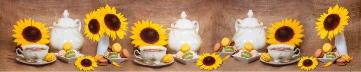 фартук для кухни кофе пирожное макарони и подсолнухи