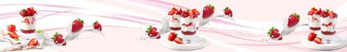 фартук для кухни клубничный десерт в розовой абстракции