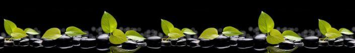 фартук для кухни листья зелёные в чёрных камнях