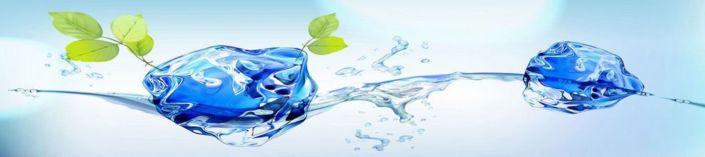 фартук для кухни вода и лёд в голубом
