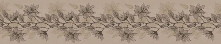 фартук для кухни рисунок цветок в сером на бежевом фоне