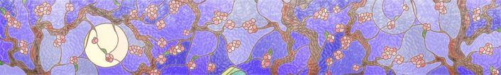 фартук для кухни фиолетовыё узор сакуры витраж