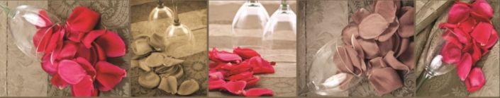 фартук для кухни коричневый бокал и лепестки роз
