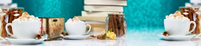 фартук для кухни чашка кофе с кремом и палочки корицы