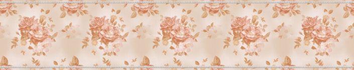 фартук для кухни розовые цветы в бежевом фоне