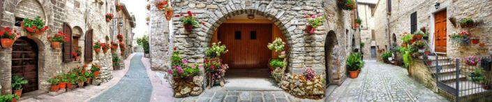 фартук для кухни фрески улочки узкие каменные домики и цветы