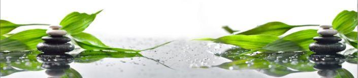фартук для кухни круглые камни зелёный лист
