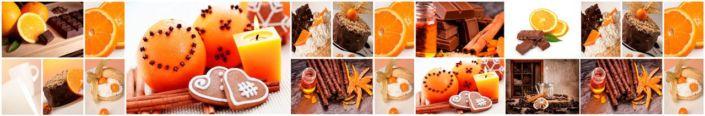 коллаж из апельсин гвоздика шоколад пряник
