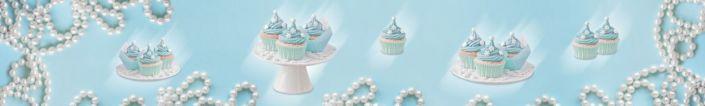 фартук для кухни десерт кекс с голубым кремом в голубом