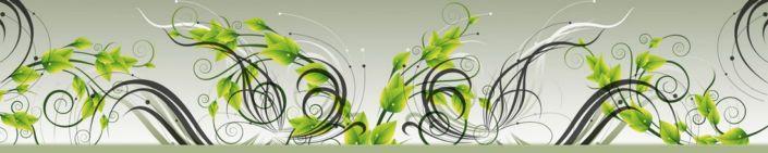фартук для кухни абстракция листья зелёные