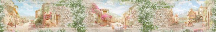 фартук для кухни фрески старинный городок в цветах
