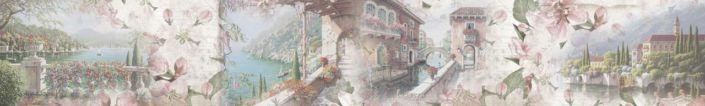 фартук для кухни фрески виды старинного города с цветами