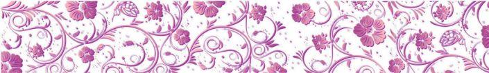 фартук для кухни узоры розовых цветов в белом