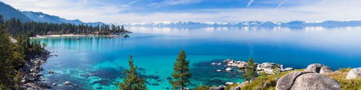 фартук для кухни голубое озеро в горах и лесах