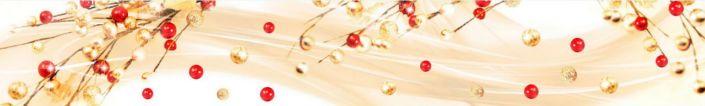 фартук для кухни абстракция золотистые и красные бусины