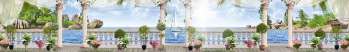 фартук для кухни фрески море небо голубое вид с веранды с колонами