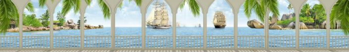 фартук для кухни вид с веранды на море с парусниками
