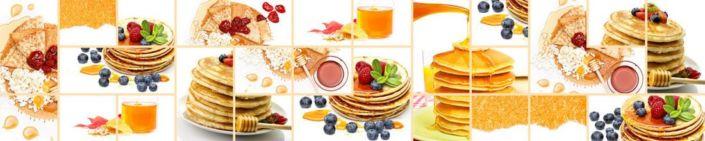 фартук для кухни коллаж блины и ягоды и мёд