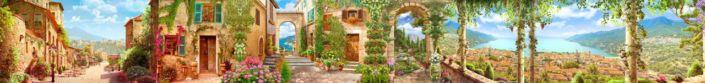 фартук для кухни фрески цветущие улочки домики