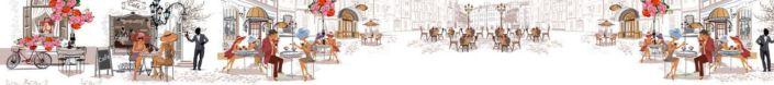 скинали для кухни уличные кафе в цветном рисунке