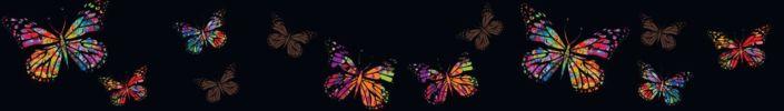 фартук для кухни чёрный бабочки цветные