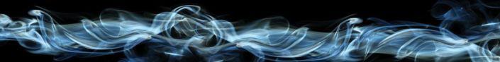 фартук для кухни голубой дым в чёрном фоне
