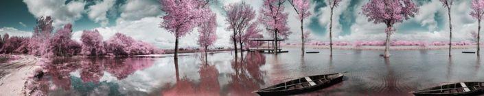 фартук для кухни розовые деревья