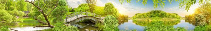 фартук для кухни зелень мостик озеро небо