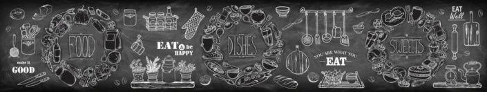 фартук для кухни чёрно-белый с рисунками и надписями для кафе