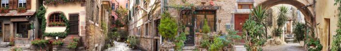 скинали для кухни фрески каменные дома с узкими улочками и зелёными растениями