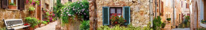 скинали для кухни фрески старинные улочки с цветами и окнами