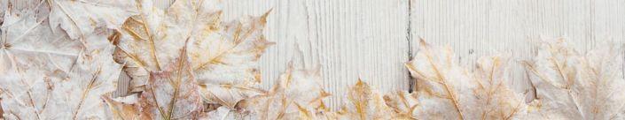 фартук для кухни листья клёна сухие по доске дерева белые
