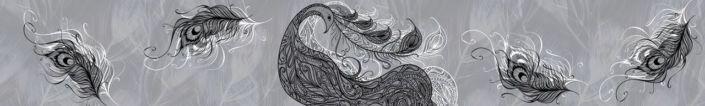 фартук для кухни серый с рисунком Жар птица перо