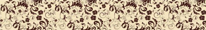 фартук для кухни цветочный принт коричневый в бежевом