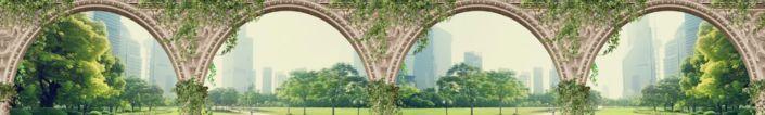 фартук для кухни фрески стена с арками и видом на современный город с парком