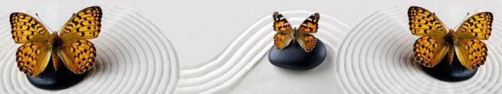 фартук для кухни бабочки коричневые в белом песке