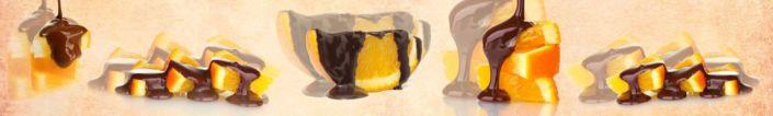 фартук для кухни рисунок апельсинов дольки с шоколадом