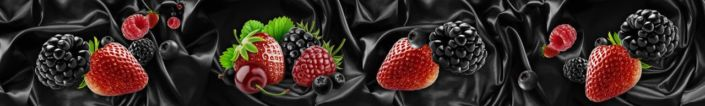 фартук для кухни ягоды клубника ежевика малина черника в чёрном