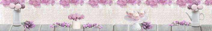 фартук для кухни цветы розовые и розовые десерты