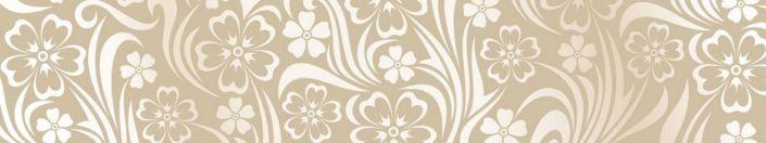 фартук для кухни узор белых цветов в бежевом