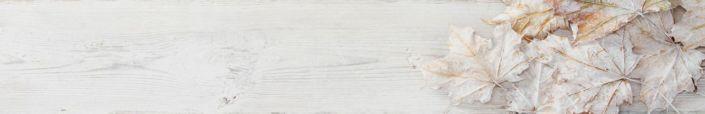 фартук для кухни доска белая с листьями клёна сухие