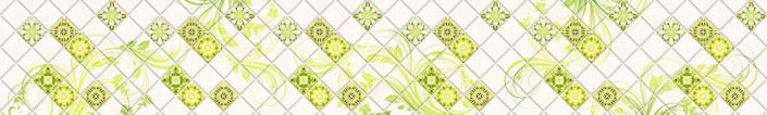 фартук для кухни плитка с зелёным узором