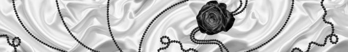 фартук для кухни чёрная роза белый шёлк